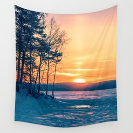 Winter sunset and the sun pillar Wall Tapestry