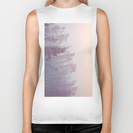Forest Fog - Snowy Mountain Trees at Sunset Biker Tank