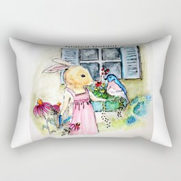 Watercolors from Rigley Rabbit and his Ginormous Floppy Ears Rectangular Pillow