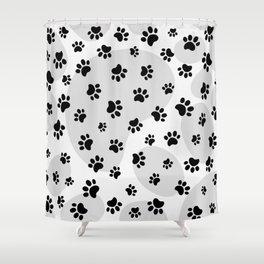 Grey Dogs paw pattern. Digital illustration. Shower Curtain