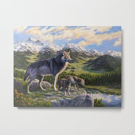 Mother Gray Wolf and Pups River Valley Metal Print