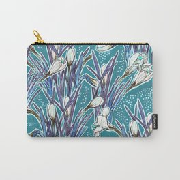 Crocuses, floral pattern in turquoise, blue and white Carry-All Pouch