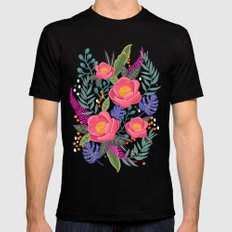 Romantic Blossom, flower print, floral print Black X-LARGE Mens Fitted Tee