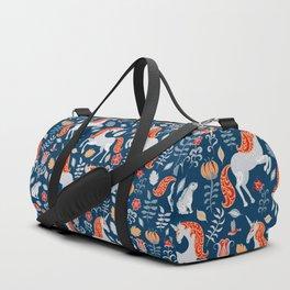 Unicorns, rabbits, birds, flowers. Decorative seamless pattern. Folk art. Duffle Bag