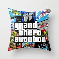 gta Throw Pillows featuring Grand Theft Autobot (GTA G1 Transformers) by Demonlinks