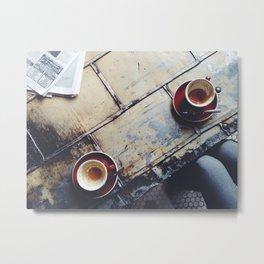 Coffee Shop Chillin Metal Print