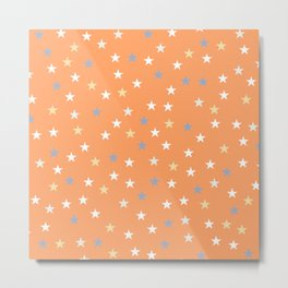 Peach Pastel Background With Stars Metal Print