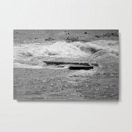 Black and white rushing water Metal Print