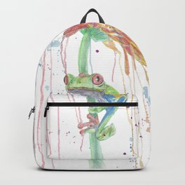 "Watercolor Painting of Picture ""Red Eyed Frog"" Backpack"