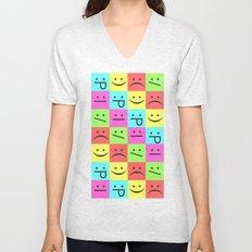 Smiley Chess Board Unisex V-Neck