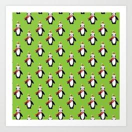 Modern cute red white Christmas penguin pattern Art Print