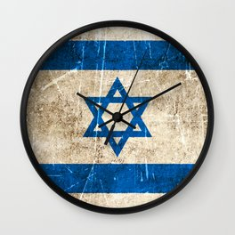 Vintage Aged and Scratched Israeli Flag Wall Clock