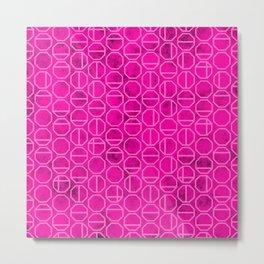 Pink Heaxagon Geomentric Pattern Metal Print