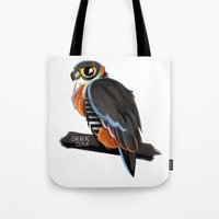 falcon Tote Bags featuring Falcon by Gracie Illustration