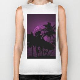 Purple Dusk with Surfergirl in Black Silhouette with Longboard Biker Tank