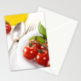 mozzarella with fresh basil, olive oil, garlic and tomatoes Stationery Cards