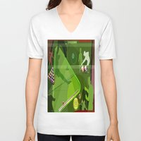 pool V-neck T-shirts featuring Pool by Tami Cudahy