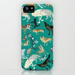 Wolves of the World Green pattern iPhone Case
