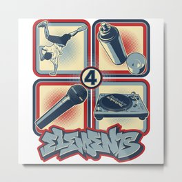 Four Elements of Hip Hop Metal Print
