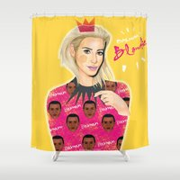 blondie Shower Curtains featuring Balmain's Blondie by Ash Tarek
