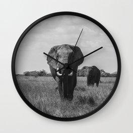 The Elephants (Black and White) Wall Clock