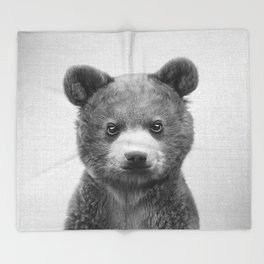 Baby Bear - Black & White Throw Blanket