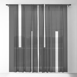Black & White Retro Stripes Sheer Curtain