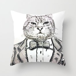gentleman cat Throw Pillow