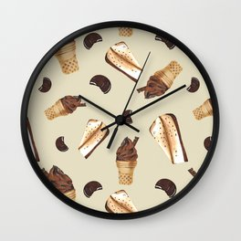 Seamless pattern: ice cream, cheesecake, cookie Wall Clock