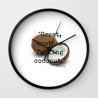 oitnb Wall Clocks featuring OITNB Coconut by Industrial Bunny
