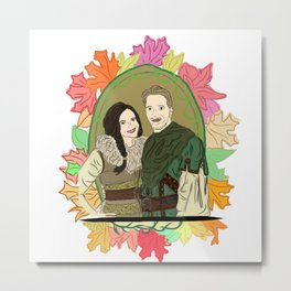 Outlaw Queen Autumn Love - Once Upon A Time's Regina and Robin Metal Print