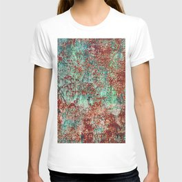 Abstract Rust on Turquoise Painting T-shirt