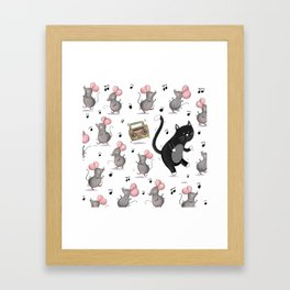 Just Dance-Cat and Mice Pattern Framed Art Print