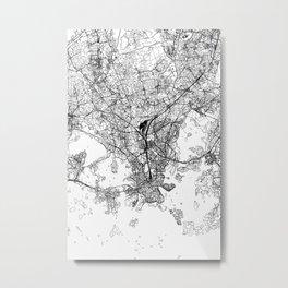 Helsinki White Map Metal Print
