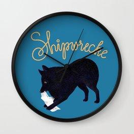 Shipwrecke (Blue and Beige) Wall Clock