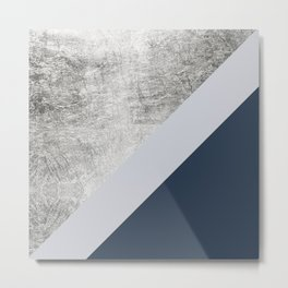 Modern minimalist navy blue grey and silver foil geometric color block Metal Print