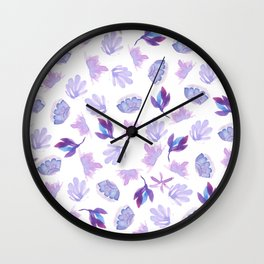 Lavender purple hand painted  watercolor floral Wall Clock