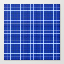 Egyptian blue - blue color - White Lines Grid Pattern Canvas Print