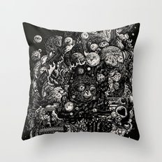 Spark-Eyed Oblivion Cascade Blues Throw Pillow