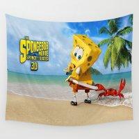 spongebob Wall Tapestries featuring spongebob squarepants,cartoon,patrick,Squidward,sandy,Mr. Krabs by rosita