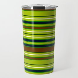 Forest Hues at Midnight - Horizontal Stripes Green Brown Blue and White Striped Travel Mug
