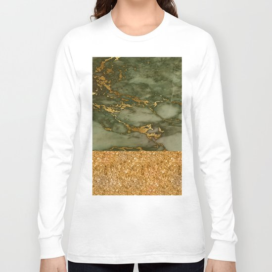 Green Marble with Gold and Glitter Long Sleeve T-shirt