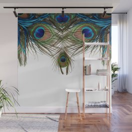 BLUE-GREEN PEACOCK FEATHERS WHITE ART Wall Mural