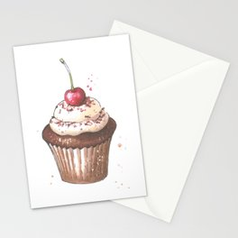 Delicious cupcake with cherry on top Stationery Cards