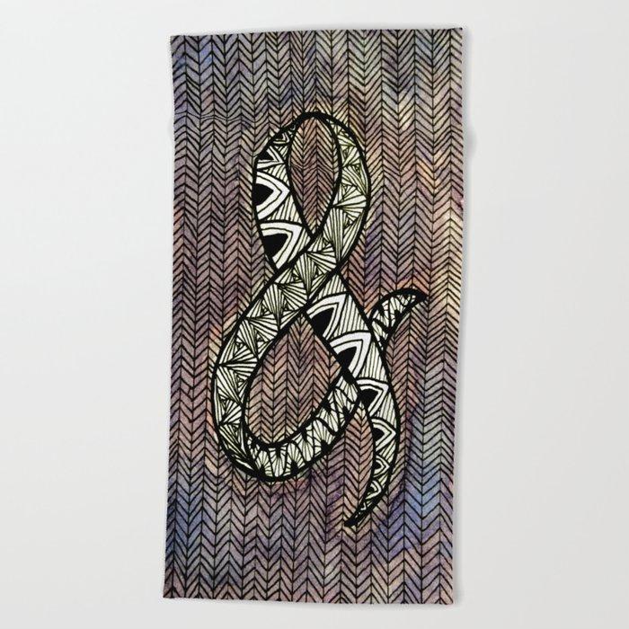 Purple Ampersand Beach Towel
