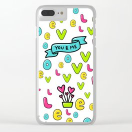 Valentine's Day Love & Hearts Sketchy Doodles Clear iPhone Case