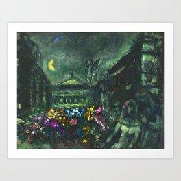 Wedding Night, Paris, Avenue of the Opera House by Marc Chagall Art Print