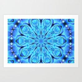 Peace Rose Kaleidoscope Neon Blue Art Print