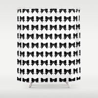bows Shower Curtains featuring Bows Pattern by The He Say She Say Collection