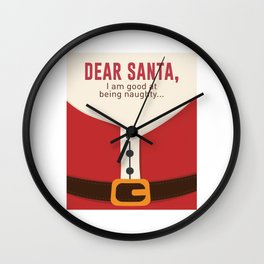 Dear Santa Good Bad Nice Naughty List Funny Design Wall Clock